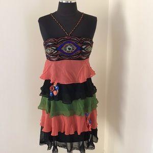 Sue Wong SZ4 Multi Embellished halter silk dress